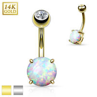 14K Solid GOLD Opal Stone Setting BELLY Button NAVEL Bar RINGS Piercing Jewelry