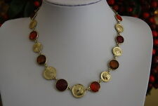JONES NEW YORK NECKLACE OF GOLD TONED METAL DISKS AND RED ACRYLIC AMBER ACCENTS