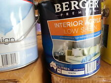 BERGER BY DULUX 2 LITRE INTERIOR WASHABLE LOW/SHEEN  WHITE colour paint