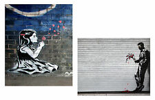 Banksy TWO canvas 8 x 10 Prints street art graffiti Dandelion Girl & Flower Man