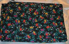 """Red Purple & Yellow Rose w/ smaller Flowers on Black Knit Fabric 107"""" x 54"""""""