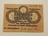 WOLFENBÜTTEL NOTGELD 50 PFENNIG 1918 NOTGELDSCHEIN (11234)