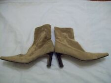 beige suede ankle boots square toe size 7 DEFECT (JJK.532.34)