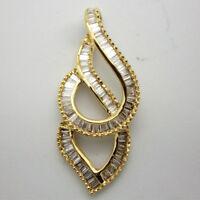 0.55 Ct Baguette Cut Real Diamond 14K Yellow Gold Twist Drop Dangle Pendant