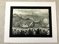 1887 Print Country Fair Gala Peel Park Bradford Yorkshire Hot Air Balloon