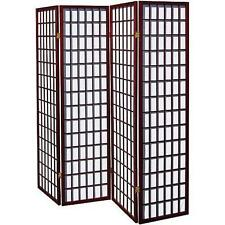 New Cherry 4 Panel Room Divider Screen Oriental Style Shoji Solid Wooden Screen