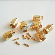 "10Pcs RP-SMA solder plug male straight connector semi-rigid RG402 0.141"" cable"