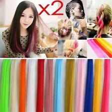 2x Bunte 1 Clip in Extensions Haarsträhnen Haarverlängerung Haarschmuck 14 Farbe