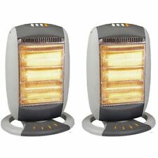 2 x 1200W Portable Electric Oscillating Halogen Heater 3 Bar Quartz Home Office