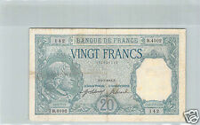 FRANCE 20 FRANCS BAYARD 6.3.1918 B.4102 N° 102526142 PICK 74