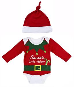 Size 0-6 Months Infant SANTA'S LITTLE HELPER Diaper Shirt & Cap by Ganz