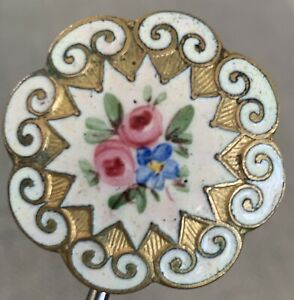 Antique Enamel Button With 2 Pink Roses