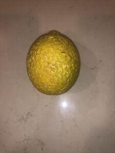 Early Vintage Antique Italian Alabaster Stone Fruit Yellow Lemon Old Patina NM