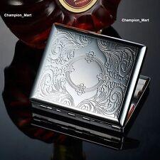 Neu Metall Zigarettenetui Zigarettenbox Hält 20 Zigaretten Silber DE