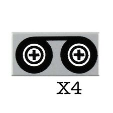 LEGO 1x2 Tile Tape Reels Pattern Music Recording Band Minifig Utensil NEW X4