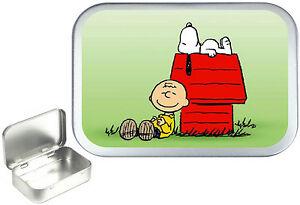 Snoopy .Silver Hinged Tobacco Tin, Sewing Box. Storage , Pocket Tin 1oz & 2oz