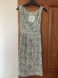 Womans Fat Face Green Floral Print Jersey Dress, Size 14