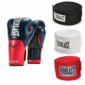 Everlast Navy/Red Elite Pro Style Boxing Gloves 16 Oz & 120-Inch Wraps (3 Pack)