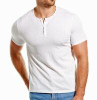 John Varvatos Star USA Men's Short Sleeve Space Dye Crew Neck Henley Shirt White
