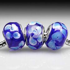 5pcs Murano Glass Lampwork Charms European Beads Fit Bracelet 14x10mm