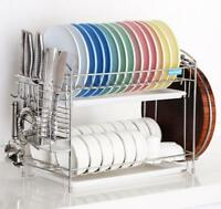 Premium Stainless Steel Twin Tray Dish Kitchen Rack Drainer Chopping Board Hold