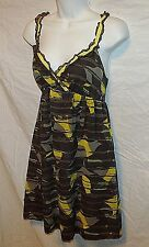 Anthropologie HERO & LEANDER Soaring Shapes camo silk empire babydoll dress S XS