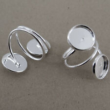 2 supports bagues pour  2 cabochons de 12 mm couleur argentée-br046