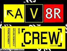 """Crew Luggage Tag -- AV8R """"Aviator"""" Taxiway Sign Pack of 10 Airline Crew Bag Tags"""