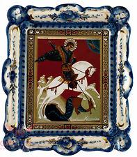 Russia Porcelain wooden Gzhel Christian Icon of Saint George Георгий Победоносец