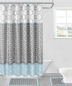 15PC NEW STYLES BATHROOM BATH MAT SET RUG CARPET FABRIC SHOWER CURTAIN HOOKS