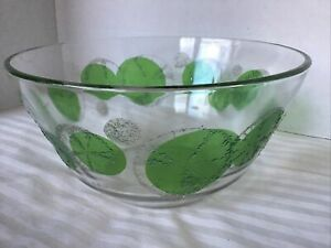 "LARGE 10"" FRED PRESS MID CENTURY MODERN Glass Serving Bowl Lime Slices Motif"