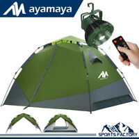 3-4 Person Waterproof Family Camping Hiking Tent + LED Light Lantern Ceiling Fan