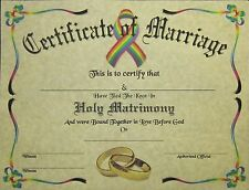 Certificate of Marriage Parchment LGBT Gay Wedding New Age Love Universal Unity