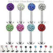 Shamballa Lip Stud Multi Crystal Gem Labret Bar Tragus Monroe Cartilage Piercing
