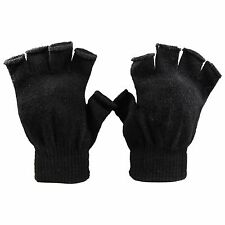Winter Solid Women Fingerless Warm Gloves Knitted Stretch Half Finger Stretchy