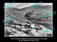 OLD HISTORICAL PHOTO OF AIF ANZAC, THE AUST LIGHT HORSE, HEIGHTS OF NALIN, c1916
