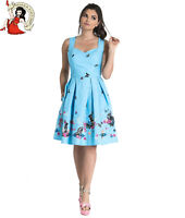 HELL BUNNY COTTON TAIL DRESS bunny RABBIT BUTTERFLY mid BLUE easter XS-4XL