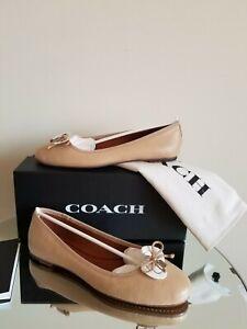 Coach Lola Ballet Flat Nude Beechwood Leather Size 10