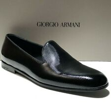 Armani Black Leather Fashion Men's Loafers Dress Shoes 9 42 Formal Tuxedo Casual