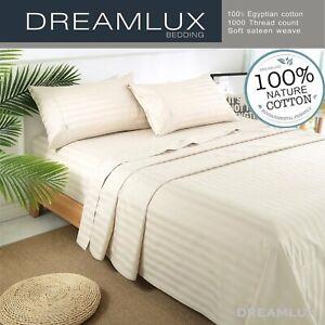 Dreamlux 1000TC 100% Egyptian cotton 4piece fitted flat sheet set ( stripe Birch