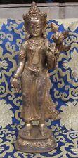 Antique Master Quality Handmade Copper Goldplated Tibetan Standing Tara, Nepal