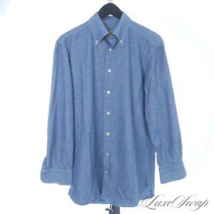 #1 MENSWEAR G. Inglese Denim Chambray Rainbow Speckle Blue Brushed Shirt 16.5 #1