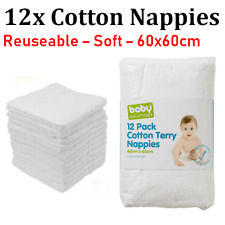 12x  Cotton Nappies Baby Terry Towelling Infant Newborn Cloth Fabric Nappy