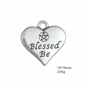 18pcs Pentagram Blessed Be Heart Charms Antiuqe Silver Tone Pendant Bead Making