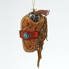 Cowboy GUN and HOLSTER with Tassels Glass Ornament NEW Western Americana