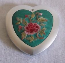 Double Sided Heart Shaped Comapct Mirror Turquoise Satin w Flowers 2-1/2""