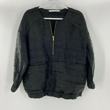 & Other Stories Pullover Jacket Linen Silk Zip Black Pockets Long Sleeve Size 38
