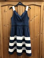 TOM JOULES * 12 * FRENCH NAVY BLUE & WHITE DRESS * SUNDRESS * STRIPED * SUMMER
