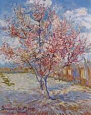 Van Gogh Pink Peach Tree in Blossom Giclee Fine Art Canvas Print Repro 16''x20''