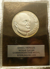 MOSHE DAYAN STERLING SILVER COMMEMORATIVE MEDAL JUDAICA ISRAEL COIN